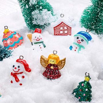 MELLIEX 24 Stück Weihnachten Miniatur Anhänger, Christbaumschmuck Harz Ornamente DIY Weihnachtsschmuck für Christbaum Adventskalender Puppenhaus Dekoration - 5