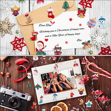 MELLIEX 24 Stück Weihnachten Miniatur Anhänger, Christbaumschmuck Harz Ornamente DIY Weihnachtsschmuck für Christbaum Adventskalender Puppenhaus Dekoration - 6