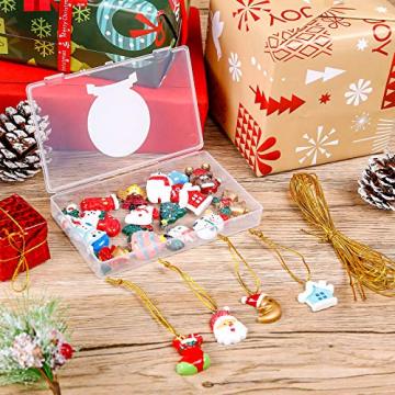 MELLIEX 24 Stück Weihnachten Miniatur Anhänger, Christbaumschmuck Harz Ornamente DIY Weihnachtsschmuck für Christbaum Adventskalender Puppenhaus Dekoration - 7