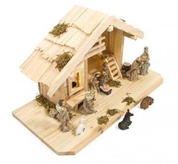 mgc24 Weihnachtskrippe Tischkrippe aus Holz, komplett mit 10 Krippenfiguren handbemalt, LED-Beleuchtung - 3
