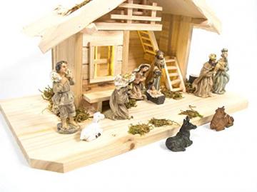 mgc24 Weihnachtskrippe Tischkrippe aus Holz, komplett mit 10 Krippenfiguren handbemalt, LED-Beleuchtung - 5