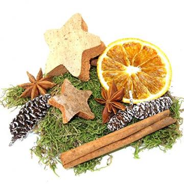 MGS SHOP Deko - Mix Weihnachten Bastelset kreative Idee Natur Dekoration mit Moos Anis Zimt Orangenscheibe Kokosstern (Natur) - 2