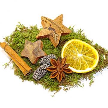 MGS SHOP Deko - Mix Weihnachten Bastelset kreative Idee Natur Dekoration mit Moos Anis Zimt Orangenscheibe Kokosstern (Natur) - 4