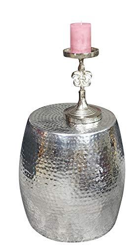 MichaelNoll 3er Set Kerzenständer Lilie Kerzenhalter Aluminium Silber Deko - Kerzenleuchter Modern für Stumpenkerzen - Tischdeko Hochzeit - Dekoration Wohnzimmer - H 23 cm / 28 cm / 32 cm - 10