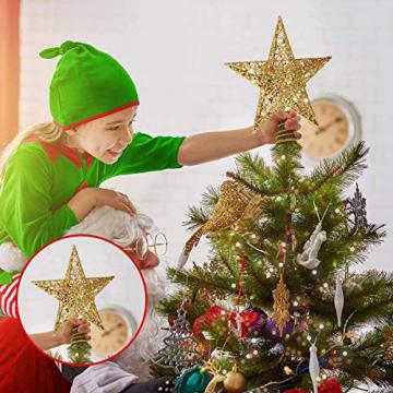 MICHETT Weihnachtsbaumspitze Stern Baumschmuck Christbaumspitze 20cm mit Frühling,Glitzernder baumkronen Ornament Party Dekoration für Weihnachtsbaumdekoration und Heimdekoration,Gold - 4