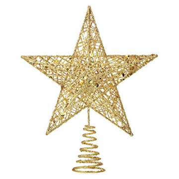 MICHETT Weihnachtsbaumspitze Stern Baumschmuck Christbaumspitze 20cm mit Frühling,Glitzernder baumkronen Ornament Party Dekoration für Weihnachtsbaumdekoration und Heimdekoration,Gold - 1