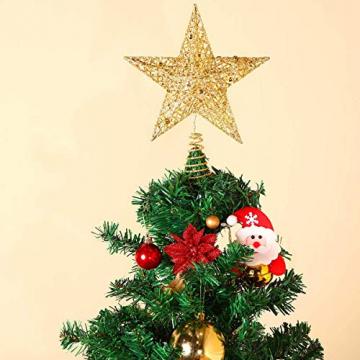 MICHETT Weihnachtsbaumspitze Stern Baumschmuck Christbaumspitze 20cm mit Frühling,Glitzernder baumkronen Ornament Party Dekoration für Weihnachtsbaumdekoration und Heimdekoration,Gold - 5