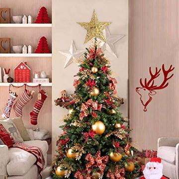 MICHETT Weihnachtsbaumspitze Stern Baumschmuck Christbaumspitze 20cm mit Frühling,Glitzernder baumkronen Ornament Party Dekoration für Weihnachtsbaumdekoration und Heimdekoration,Gold - 6