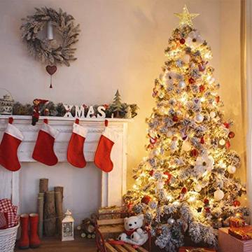 MICHETT Weihnachtsbaumspitze Stern Baumschmuck Christbaumspitze 20cm mit Frühling,Glitzernder baumkronen Ornament Party Dekoration für Weihnachtsbaumdekoration und Heimdekoration,Gold - 7