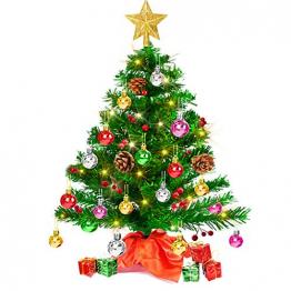 Mini Weihnachtsbaum 50cm, Christbaum künstlich mit batteriebetriebenen gelben LED Lichterketten & andere Baumdeko, einfache Montage, Kleiner Tannenbaum für Tisch, Büro, Wohnzimmer Weihnachtsdeko - 1