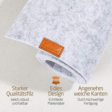 Miqio ® - Design Tischläufer aus Filz abwaschbar | Marken Label aus Echtleder | Tischband 150x40 cm | Skandinavische Deko - passend Tischsets, Platzsets, Tischdecken | grau meliert - 2
