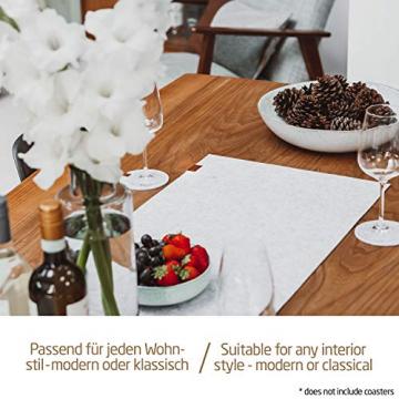Miqio ® - Design Tischläufer aus Filz abwaschbar | Marken Label aus Echtleder | Tischband 150x40 cm | Skandinavische Deko - passend Tischsets, Platzsets, Tischdecken | grau meliert - 4