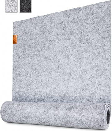 Miqio ® - Design Tischläufer aus Filz abwaschbar | Marken Label aus Echtleder | Tischband 150x40 cm | Skandinavische Deko - passend Tischsets, Platzsets, Tischdecken | grau meliert - 1