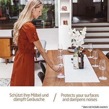 Miqio ® - Design Tischläufer aus Filz abwaschbar | Marken Label aus Echtleder | Tischband 150x40 cm | Skandinavische Deko - passend Tischsets, Platzsets, Tischdecken | grau meliert - 5