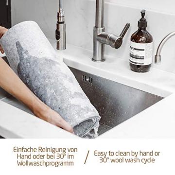 Miqio ® - Design Tischläufer aus Filz abwaschbar | Marken Label aus Echtleder | Tischband 150x40 cm | Skandinavische Deko - passend Tischsets, Platzsets, Tischdecken | grau meliert - 6