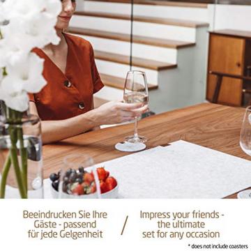 Miqio ® - Design Tischläufer aus Filz abwaschbar | Marken Label aus Echtleder | Tischband 150x40 cm | Skandinavische Deko - passend Tischsets, Platzsets, Tischdecken | grau meliert - 7