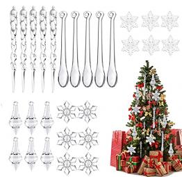 Moseem Christbaumschmuck, 50pcs Schneeflocken Eiszapfen Weihnachtsbaum Anhänger,Acryl Weihnachtsbaumschmuck für Weihnachten Winter Dekoration - 1