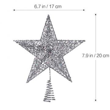 NICEXMAS 20cm Weihnachtsbaumspitzen Spitze für Weihnachtsbaum Silber Stern Baum Topper Exquisite Weihnachtsbaum Topper Dekor - 2