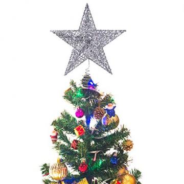 NICEXMAS 20cm Weihnachtsbaumspitzen Spitze für Weihnachtsbaum Silber Stern Baum Topper Exquisite Weihnachtsbaum Topper Dekor - 4