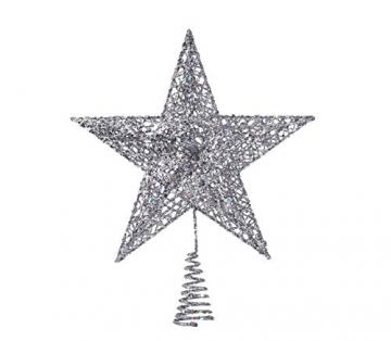 NICEXMAS 20cm Weihnachtsbaumspitzen Spitze für Weihnachtsbaum Silber Stern Baum Topper Exquisite Weihnachtsbaum Topper Dekor - 1