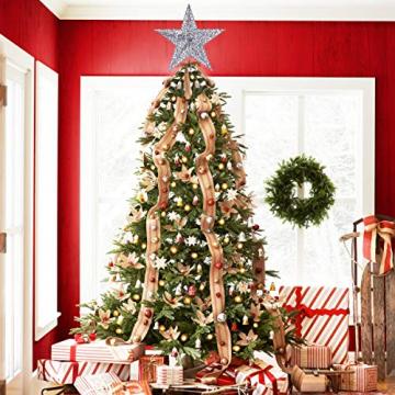 NICEXMAS 20cm Weihnachtsbaumspitzen Spitze für Weihnachtsbaum Silber Stern Baum Topper Exquisite Weihnachtsbaum Topper Dekor - 5