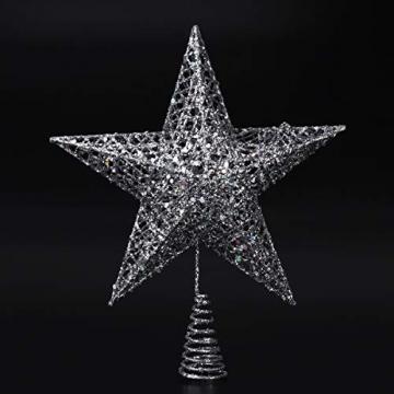 NICEXMAS 20cm Weihnachtsbaumspitzen Spitze für Weihnachtsbaum Silber Stern Baum Topper Exquisite Weihnachtsbaum Topper Dekor - 9