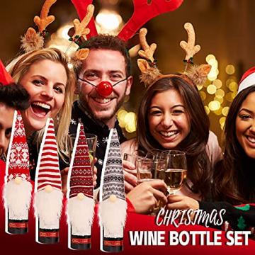 NMSLCNM Weihnachten Weinflasche Abdeckung, Rotwein Taschen für Dress up Weinflasche Wiederverwendbare Wein Geschenk Taschen, Weihnachten Dekoration Tischdekoration für Weihnachten Party (A) - 3