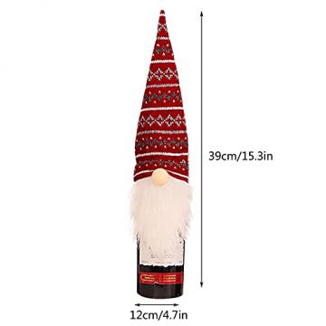 NMSLCNM Weihnachten Weinflasche Abdeckung, Rotwein Taschen für Dress up Weinflasche Wiederverwendbare Wein Geschenk Taschen, Weihnachten Dekoration Tischdekoration für Weihnachten Party (A) - 4