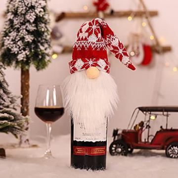 NMSLCNM Weihnachten Weinflasche Abdeckung, Rotwein Taschen für Dress up Weinflasche Wiederverwendbare Wein Geschenk Taschen, Weihnachten Dekoration Tischdekoration für Weihnachten Party (A) - 1