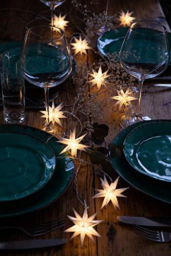 Novaliv Weihnachtsstern Dekostern | 8cm Weiss | nur Innen | LED Lampe mit Batteriefach | Weihnachtsdeko Stern beleuchtet - 2