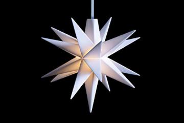 Novaliv Weihnachtsstern Dekostern | 8cm Weiss | nur Innen | LED Lampe mit Batteriefach | Weihnachtsdeko Stern beleuchtet - 3