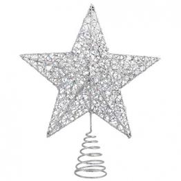 NUOBESTY Christbaumspitze Stern glitzernde Christbaumschmuck Ornamente (Silber) - 1