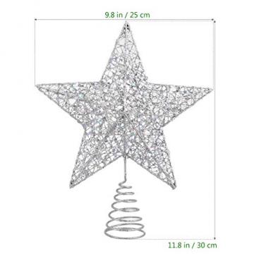 NUOBESTY Christbaumspitze Stern glitzernde Christbaumschmuck Ornamente (Silber) - 3
