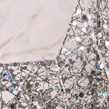 NUOBESTY Christbaumspitze Stern glitzernde Christbaumschmuck Ornamente (Silber) - 4