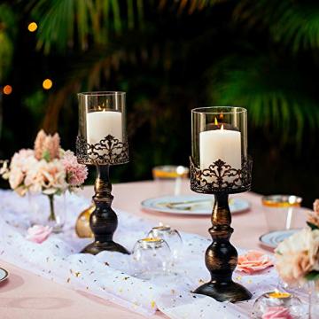 NUPTIO 2 Stück Vintage Kerzenhalter für Tische Kerzenhalter aus Schwarzer Säule mit Glasschirmabdeckung, Antike Hurrikan-Kerzenhalter-Anzeige für Die Hochzeitsdekoration Bei Kerzenlicht Zu Hause - 3