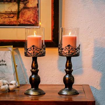 NUPTIO 2 Stück Vintage Kerzenhalter für Tische Kerzenhalter aus Schwarzer Säule mit Glasschirmabdeckung, Antike Hurrikan-Kerzenhalter-Anzeige für Die Hochzeitsdekoration Bei Kerzenlicht Zu Hause - 4