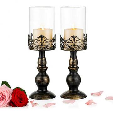 NUPTIO 2 Stück Vintage Kerzenhalter für Tische Kerzenhalter aus Schwarzer Säule mit Glasschirmabdeckung, Antike Hurrikan-Kerzenhalter-Anzeige für Die Hochzeitsdekoration Bei Kerzenlicht Zu Hause - 1