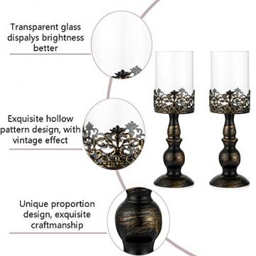 NUPTIO 2 Stück Vintage Kerzenhalter für Tische Kerzenhalter aus Schwarzer Säule mit Glasschirmabdeckung, Antike Hurrikan-Kerzenhalter-Anzeige für Die Hochzeitsdekoration Bei Kerzenlicht Zu Hause - 5