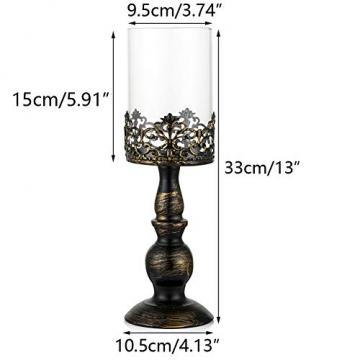 NUPTIO 2 Stück Vintage Kerzenhalter für Tische Kerzenhalter aus Schwarzer Säule mit Glasschirmabdeckung, Antike Hurrikan-Kerzenhalter-Anzeige für Die Hochzeitsdekoration Bei Kerzenlicht Zu Hause - 6