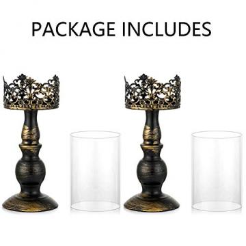 NUPTIO 2 Stück Vintage Kerzenhalter für Tische Kerzenhalter aus Schwarzer Säule mit Glasschirmabdeckung, Antike Hurrikan-Kerzenhalter-Anzeige für Die Hochzeitsdekoration Bei Kerzenlicht Zu Hause - 7
