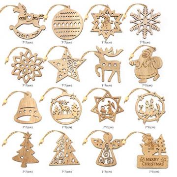 O-Kinee Weihnachtsbaumschmuck Holz, 16 Stück Christbaumschmuck Mit Hanfseil und beweglichen Holzperlen, 7.5cm - 2