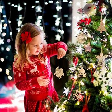 O-Kinee Weihnachtsbaumschmuck Holz, 16 Stück Christbaumschmuck Mit Hanfseil und beweglichen Holzperlen, 7.5cm - 4