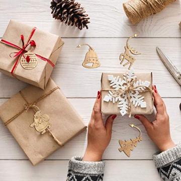 O-Kinee Weihnachtsbaumschmuck Holz, 16 Stück Christbaumschmuck Mit Hanfseil und beweglichen Holzperlen, 7.5cm - 5