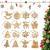 O-Kinee Weihnachtsbaumschmuck Holz, 16 Stück Christbaumschmuck Mit Hanfseil und beweglichen Holzperlen, 7.5cm - 1