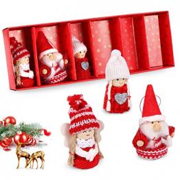 O-Kinee Weihnachtswichtel aus Holz, 6er Set Strick Baumanhänger Weihnachtsanhänger, Weihnachtsbaumschmuck Weihnachten Schmuck Deko Niedlich Weihnachtspuppe 8 cm in Geschenkbox - 1