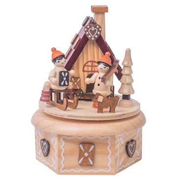 OBC Spieluhr Räucherhäuschen Lebkuchen Natur 16cm, Weihnachtslied Oh Tannenbaum/Spieldose Holz Handbemalt Erzgebirge-Stil/Deko Advent & Weihnachten - 1