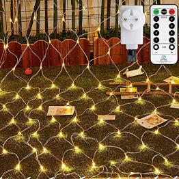 Ollny LED Lichternetz 3x2m, 200 LED Lichternetz Warmweiß Lichterkette Netz mit Fernbedienung & Timer, 4 Helligkeitsstufe 8 Modi Lichterkettennetz außen für Zimmer Weihnachten Partydekoration - 1