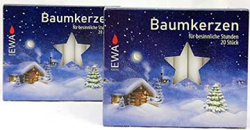 OLShop AG 2er Pack Baumkerzen weiß ca. 13 x 105 mm (2 x 20 Stück) Weihnachtskerzen, Christbaumkerzen, Pyramidenkerzen - 1