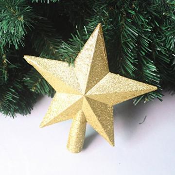 OULII Christbaumspitze Stern Verzierung Glitter Baum Stern Weihnachtsdekoration (Gold) - 2