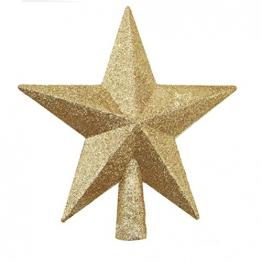 OULII Christbaumspitze Stern Verzierung Glitter Baum Stern Weihnachtsdekoration (Gold) - 1